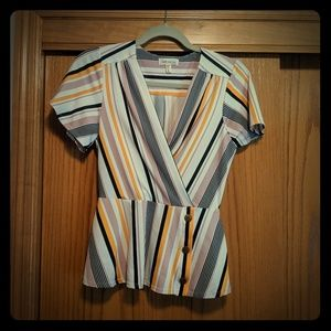 Peplum striped top with button detail